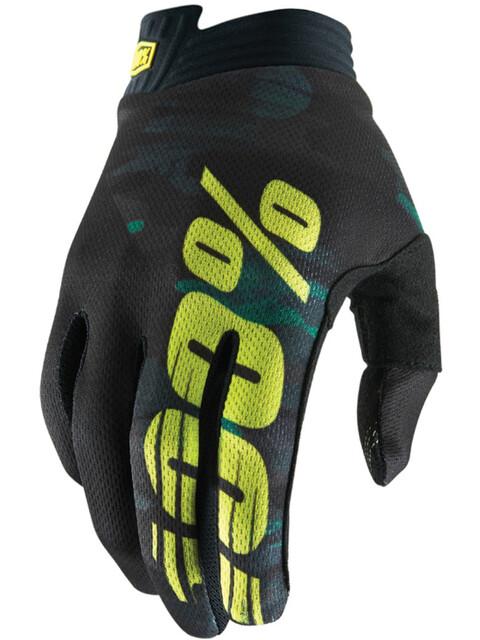 100% iTrack Gloves Camo Black/Green